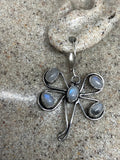 Vintage rainbow moonstone sterling silver lever back dangle Dragonfly earrings