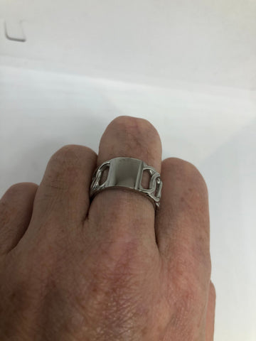 Vintage Insignia Signet stainless steel band infinity Ring