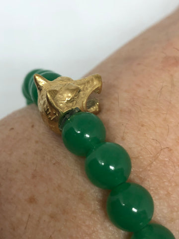 Vintage style wolf bracelet unisex men stainless steel Green Jade Stretch