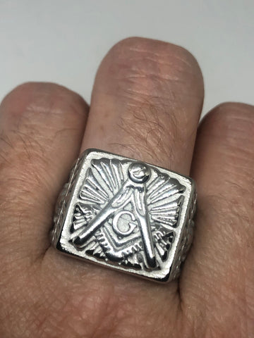 Vintage Free Mason G Mens Ring Stainless Steel