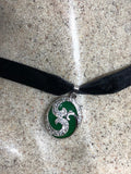 Vintage Green Jade Choker  Silver Finish necklace pendant