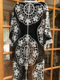 Vintage style Black and white embroidered kimono jacket