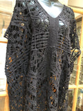 Vintage style Black Lace embroidered kimono jacket