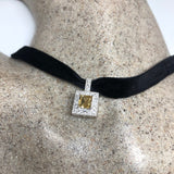 Vintage Golden Citrine White sapphire Pendant 925 Sterling Silver Choker Necklace