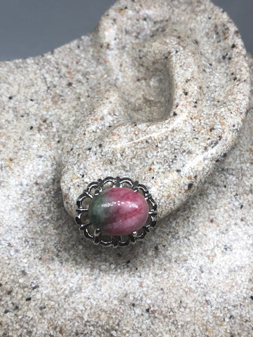 Genuine Ruby Zoizite gemstone silver bronze stud earrings