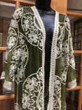 Vintage style Olive Green embroidered kimono jacket