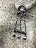 Vintage Amethyst Earrings 925 Sterling Silver Dangle