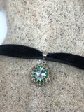 Vintage Blue Topaz Emerald Citrine Choker 925 Sterling Silver Necklace pendant