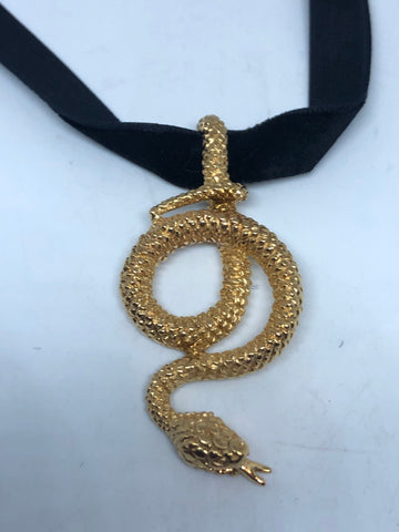 vintage Golden stainless steel Snake Choker Necklace