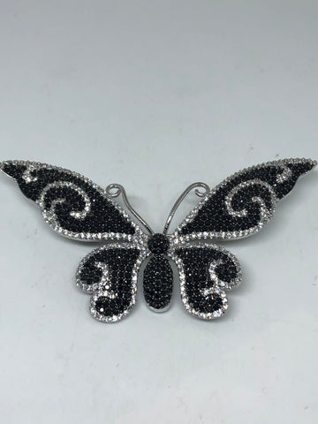 Vintage Black Crystal Gothic Styled Silver Finished Butterfly Broach