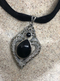 Vintage Real Marcasite 925 Sterling Silver genuine black onyx dangle Pendant Necklace