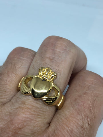 Vintage Claddaugh Ring Golden Stainless Steel