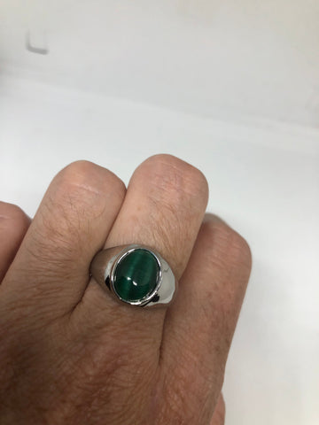 Vintage Green Cats Eye Glass Mens Ring Stainless Steel