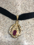 Vintage Ruby Choker 925 Sterling Silver Gold Rhodium Pendant Necklace