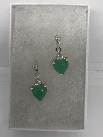 Genuine Green jade gemstone silver bronze earrings