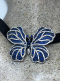 Vintage Blue Crystal Gothic Styled Silver Finished Butterfly Choker Necklace Broach