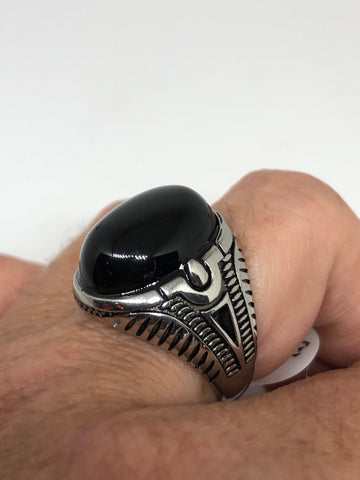 Vintage Gothic Black Onyx Egyptian stainless steel Mens Ring