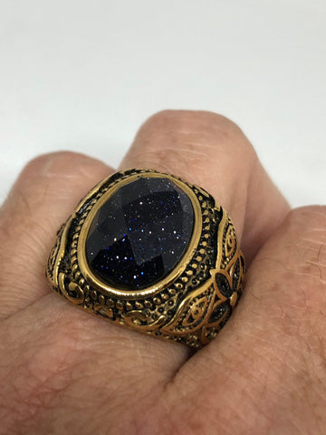 Vintage Gothic Black Goldstone Egyptian golden stainless steel Mens Ring