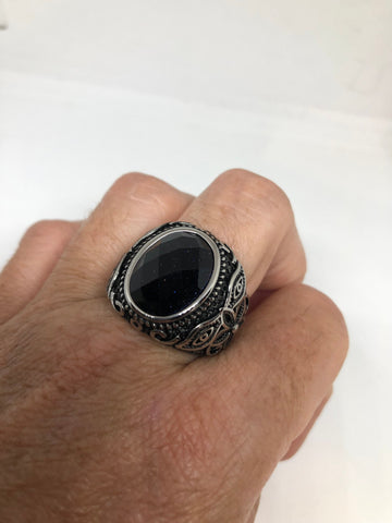 Vintage Gothic Black Goldstone Egyptian silver stainless steel Mens Ring