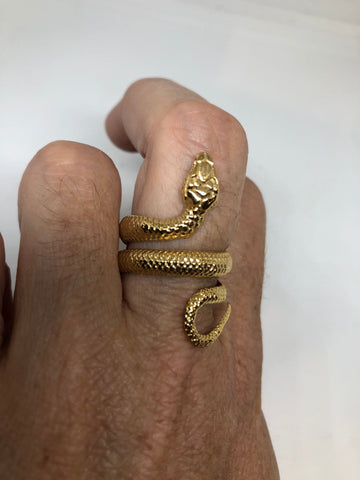 Vintage Gothic Golden Stainless Steel Snake Ring