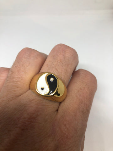 Vintage Ying Yang Mens Martial Arts Golden Stainless Steel Enamel Ring