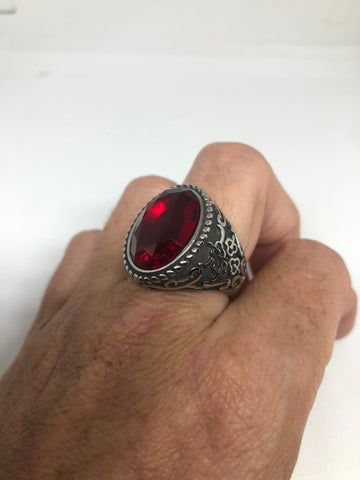 Vintage Red Ruby Glass Mens Ring Stainless Steel