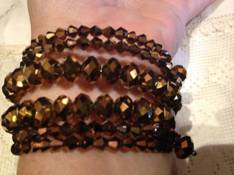 Vintage Styled Copper toned Austrian Crystal/ Memory Wire Stretch Bracelet
