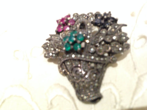Vintage Gemstone Emerald Ruby Sapphire Marcacite 925 Sterling Silver Flower Basket Pin Pendant