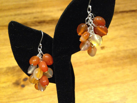 Carnilian charm gemstone Sterling Silver dangle earrings