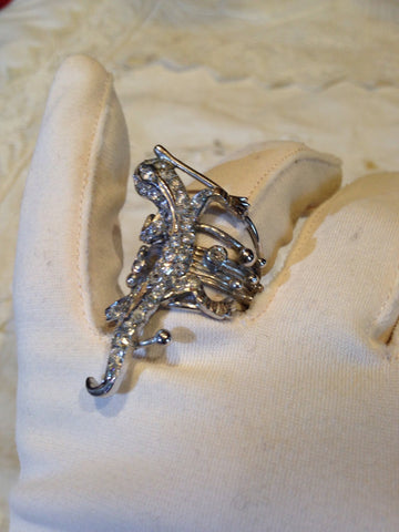 Vintage Filigree Cubic Zirconia Crystal Lizard Gothic 925 Sterling Silver Ring