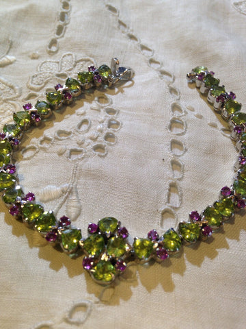 Vintage Handmade Genuine Peridot Real Ruby Rhodium Finished 925 Sterling Silver Tennis Bracelet