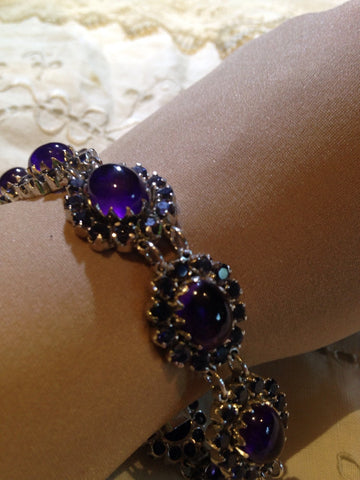 Vintage Handmade Genuine Amethyst and Iolite Rhodium Finished Sterling Silver Statement Bracelet