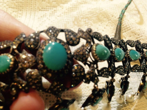 Vintage Handmade Kundon diamond Gemstone dramatic statement Persian Turquoise necklace choker