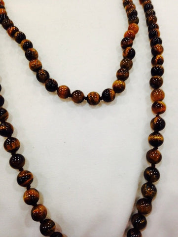 hand knoted vintage tiger's eye beaded necklace