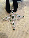 Vintage Handmade 925 Sterling Silver Finish Crome Diopside Cross Pendant