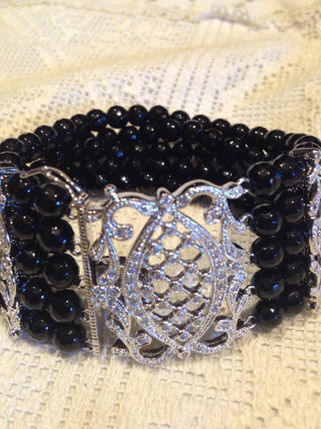 Vintage Hand Made 925% Sterling Silver Crystal Filligree Black Jet Faceted Bead Bracelet