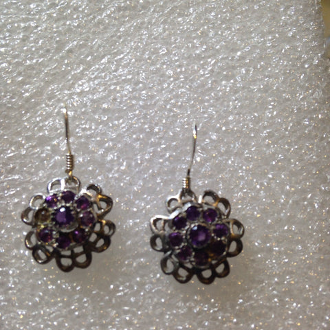 Nemesis Vintage Handmade Sterling Silver deep blue Iolite earrings