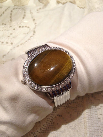 Vintage Tiger's Eye gemstone bangle bracelet watch