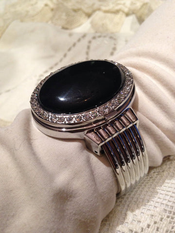Vintage Black Onyx  gemstone bangle bracelet watch