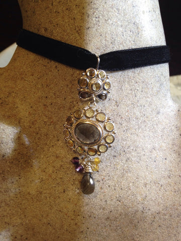 Vintage Necklace Real Citrine smoky Topaz 925 Sterling Silver Necklace