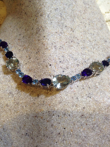 Vintage Handmade Genuine Aquamarine Iolite Blue Topaz 925 Sterling Silver Choker Necklace
