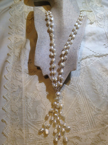 Vintage hand wrapped genuine white pearl tassel necklace