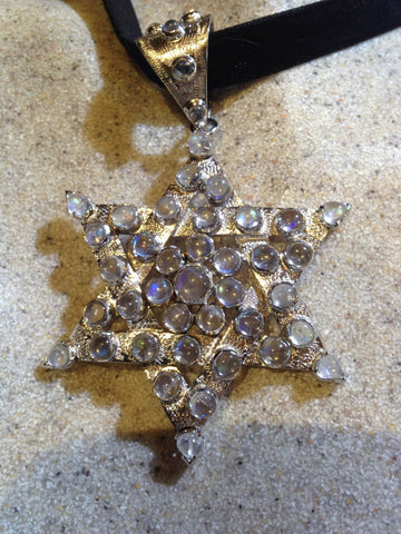 Nemesis Vintage Handmade Sterling Silver Rainbow Moonstone Star of David Pendant necklace