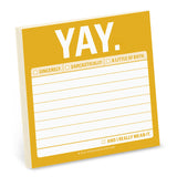 "Sticky Notes - ""Yay."""