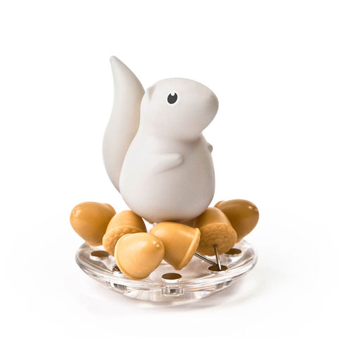 Squirrel Acorn Pushpins Set (White)