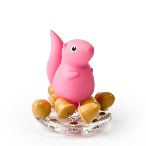 Squirrel Acorn Pushpins Set (Pink)