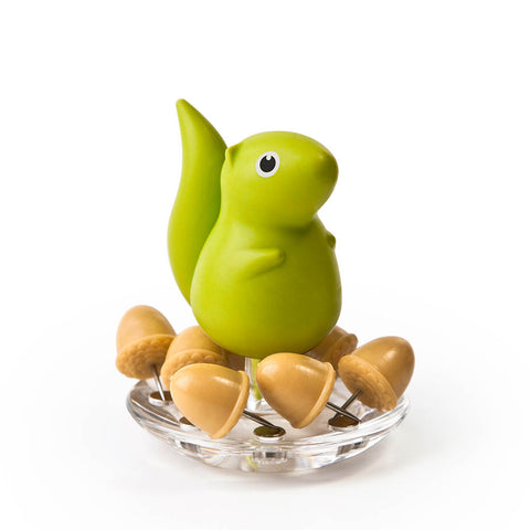 Squirrel Acorn Pushpins Set (Green)