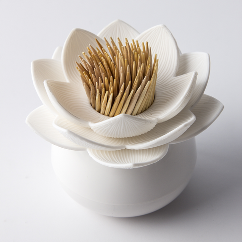 Lotus Toothpick Holder (White/White)