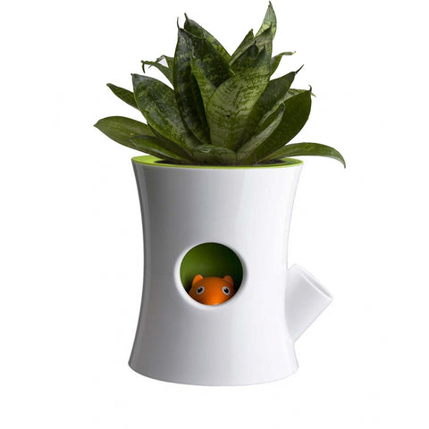Log & Squirrel Planter Pot (White/Green)