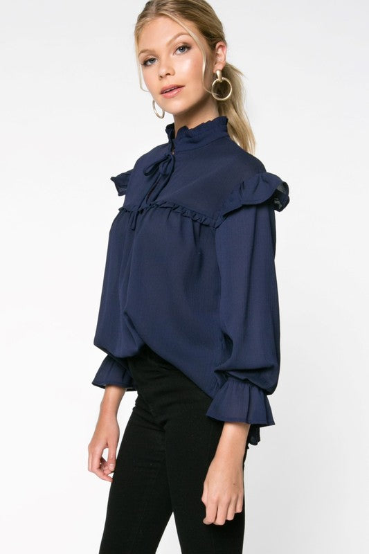 Natalie Navy Ruffle Top